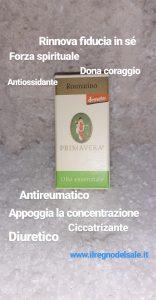 scatola olio essenziale al rosmarino con benefici scritto sopra